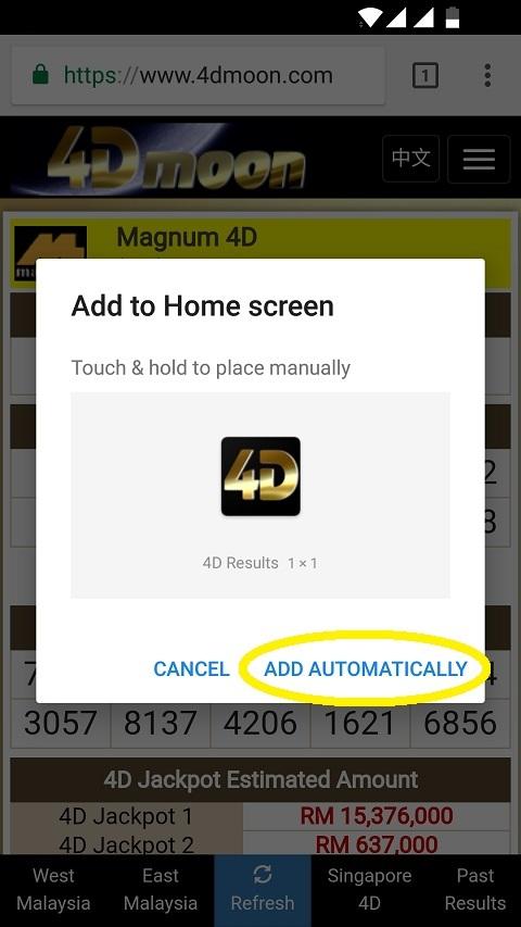 Add 4dmoon com to home screen